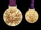 This LOCOG photo shows both sides of the gold medal to awarded during the London 2012 Olympics.